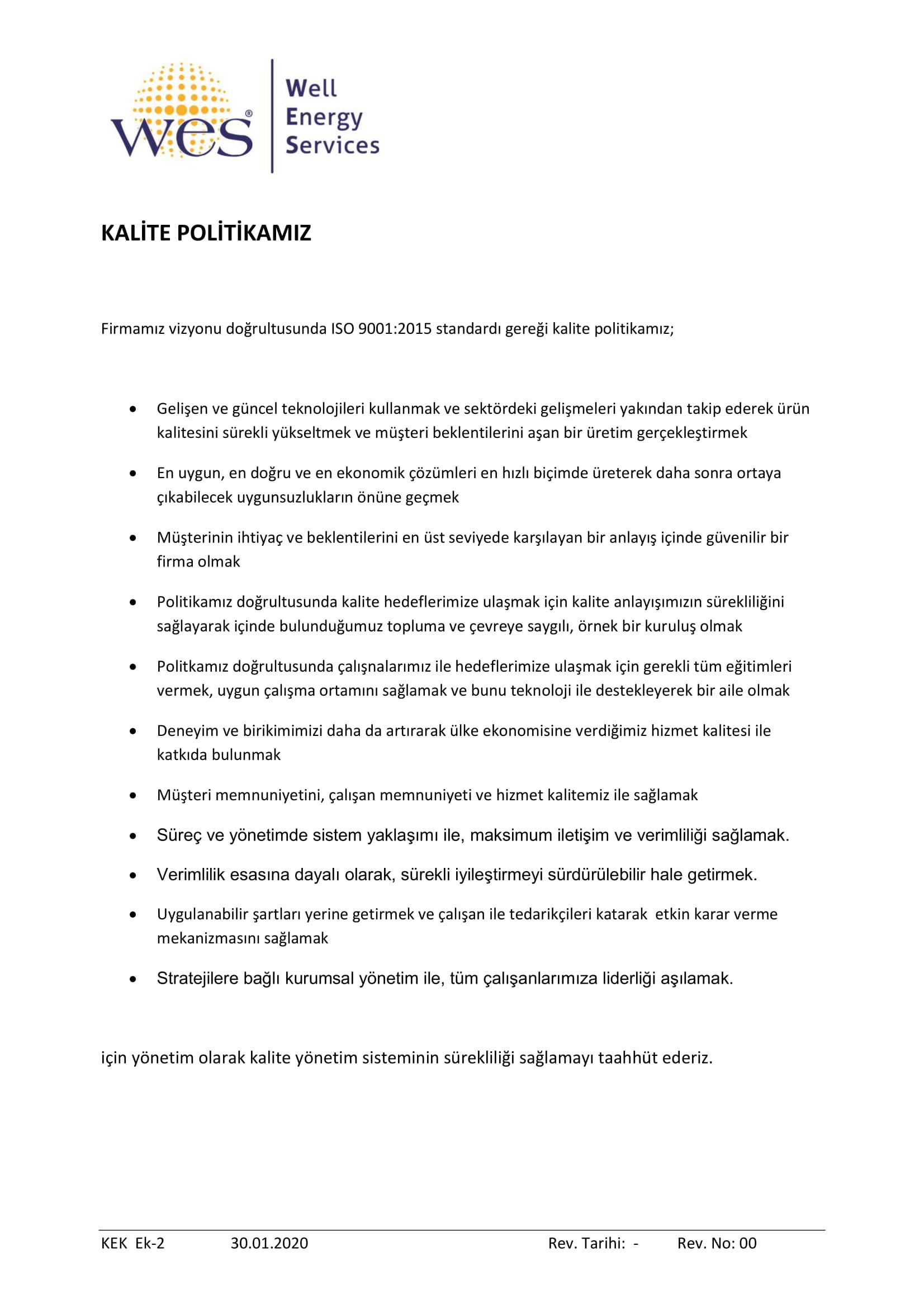 WES Kalite Politikası tükçe-1